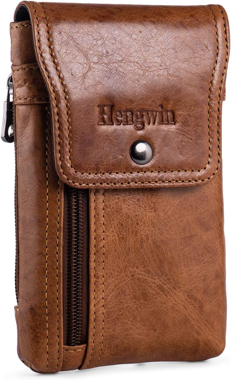 Hengwin iPhone 11 Pro Max Holster Case with Belt Clip, Genuine Leather Belt Pouch iPhone Xs Max XR Belt Case Phone Belt Holder for iPhone 7 Plus 8 Plus 6s Plus (Fits Cellphone with Case On) (Brown)