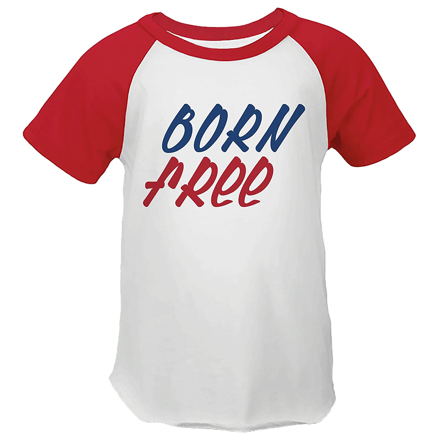 7 ate 9 Apparel Kids Born Free 4th of July Red Baseball Tee
