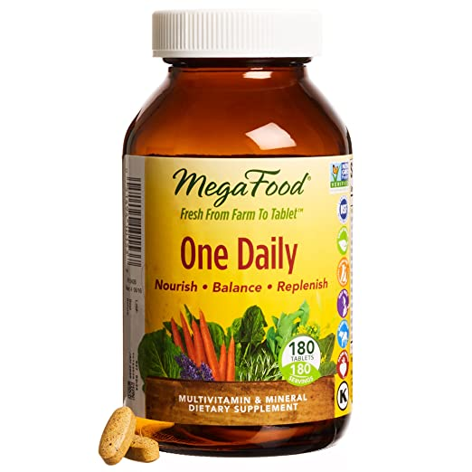 MegaFood - One Daily, Natural Multivitamin Support for Well-Being, 180 Tablets (FFP)