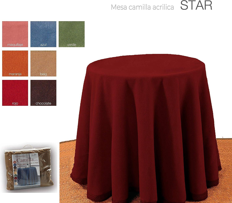 mantel Falda para Mesa Camilla Redonda Hogar Decorativa Invierno de 100% acrílico Medidas (Rojo, 90cm): Amazon.es: Hogar