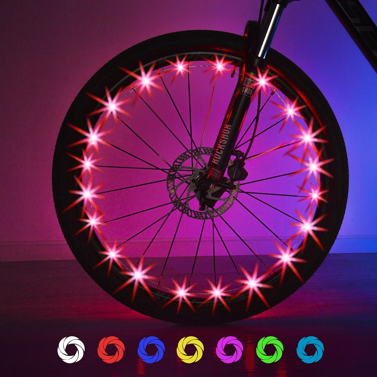 Exwell Bike Wheel Lights, 7 Colors in 1 Bike lights,Safety at Night,Switch 9 Modes LED Bike Accessories Lights, USB rechargeable 1 PACK