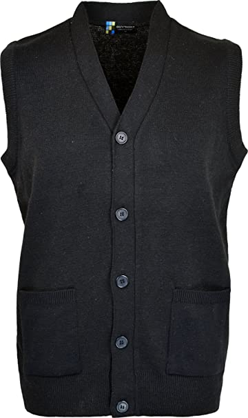 d99d4c60e24e07 Mens Sleeveless Cardigan Knitted Button Waistcoat Classic Style Cardigans V  Neck Plain Coloured  Amazon.co.uk  Clothing