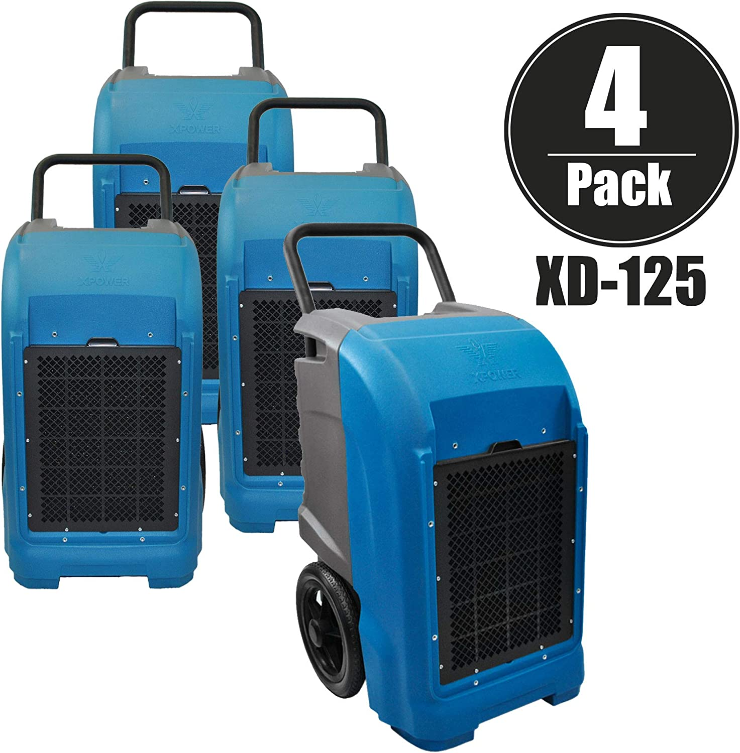 XPOWER XD-125 Industrial Commercial Dehumidifier to Dry basements, Large Rooms, Work Sites- Flood Damage Treatment, Moisture, and Prevent Mold and Mildew- 125-Pints 15-Gallons a Day- Blue 4 Pack