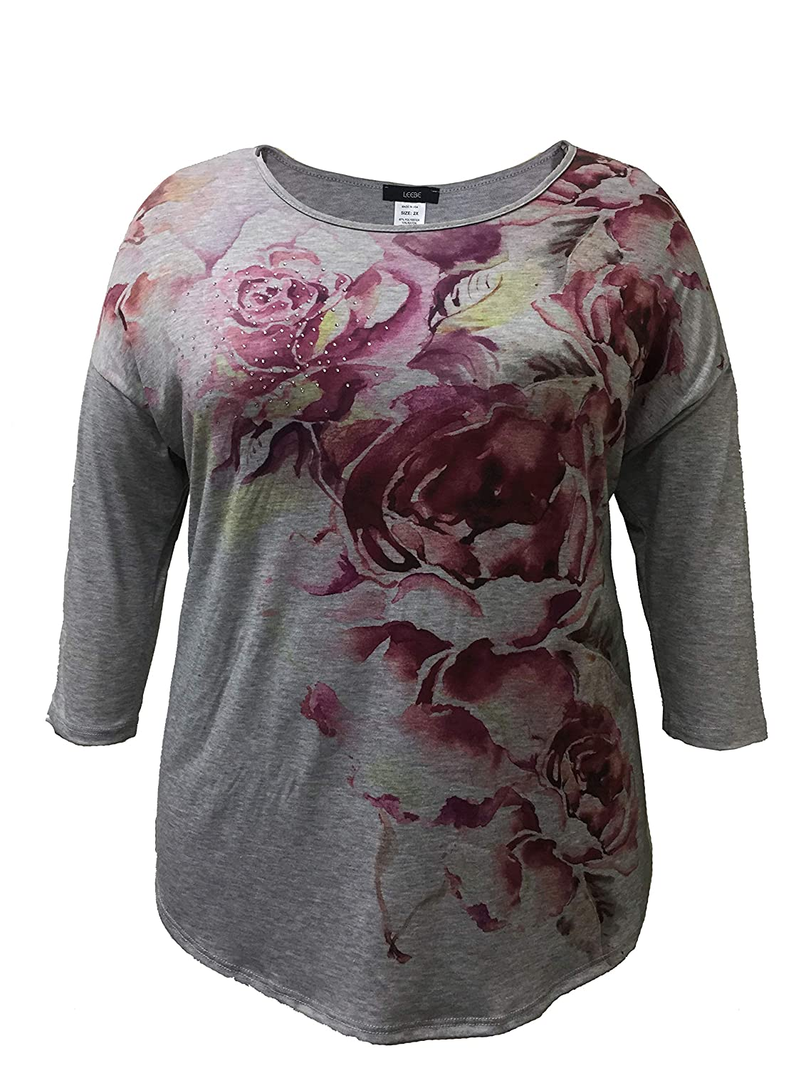 LEEBE Plus Size 3/4 Sleeve Floral Print with Stones