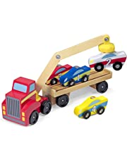 Melissa & Doug Magnetic Car Loader Wooden Toy Set, Cars & Trucks, Helps Develop Motor Skills, 4 Cars and 1 Semi-Trailer Truck, 14.605 cm H x 33.02 cm W x 7.62 cm L
