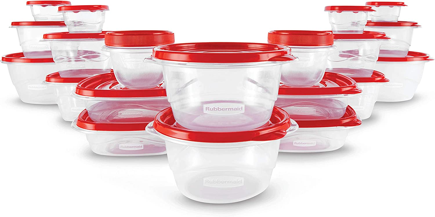 Rubbermaid TakeAlongs Food Storage Containers, 40 Piece Set, Ruby Red