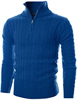 337eb9f7430 COOFANDY Mens Casual Quarter Zip Pullover Sweater Slim Fit Long Sleeve Polo  Sweaters HM0818