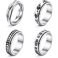 FUNRUN JEWELRY 4 Pcs Stainless Steel Spinner Ring for Women Mens Fidget Band Rings Moon Star Celtic Stress Relieving…