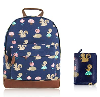 Craze London - New Childrens Designer Style Canvas CRITTERS Print Backpack  Bag With Matching Purse- JC Kids  Back to School  Collection (DARK BLUE)   ... 693bf39f279df