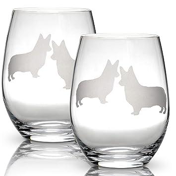 443ee988925 Amazon.com | Corgi Stemless Wine Glasses (Set of 2) | Unique Gift ...
