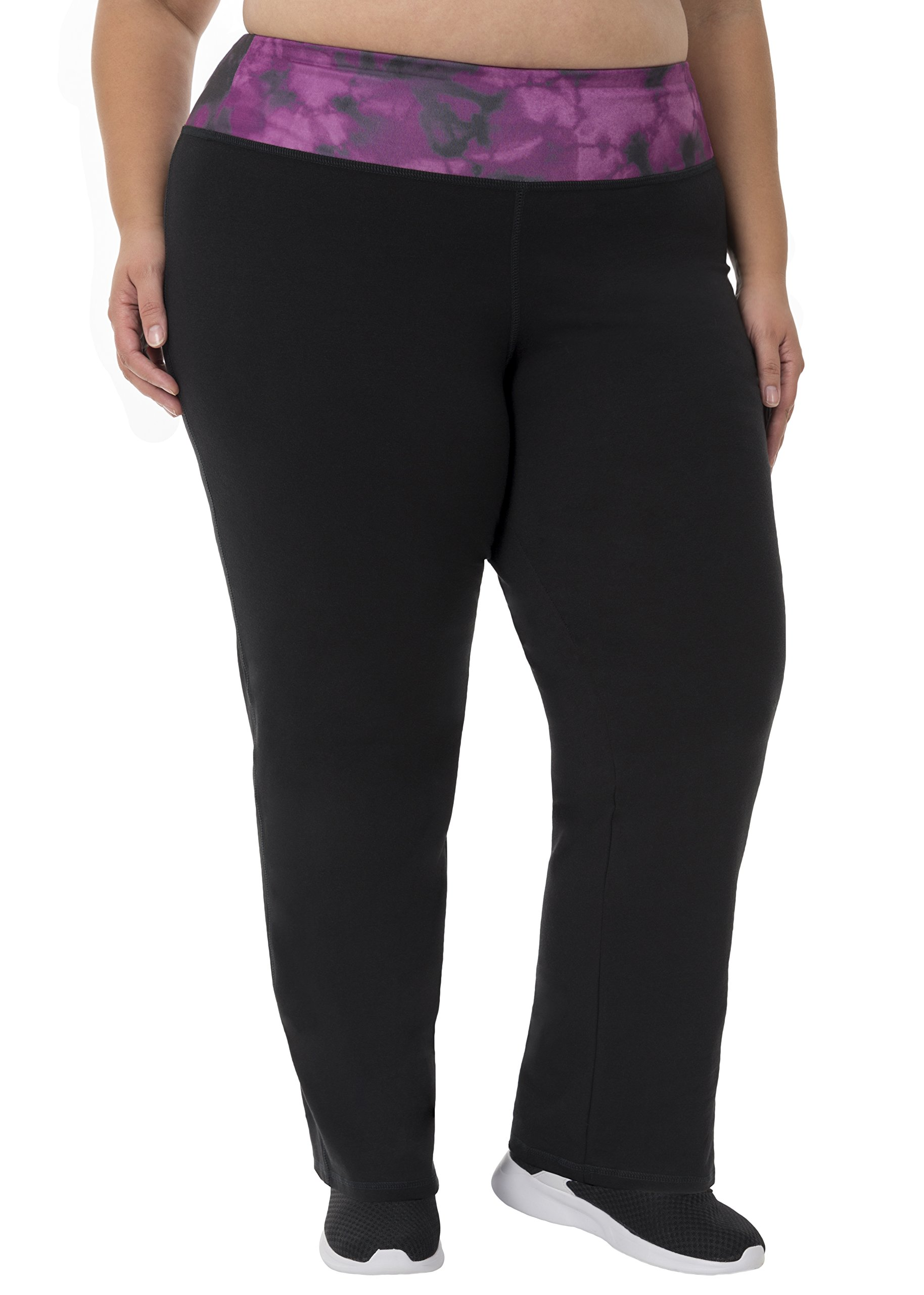 Fit for Me by Fruit of the Loom Women's Plus Size Relaxed Fit Yoga Pant, Black/Deep Plum Cloud, 2X by Fit for Me by Fruit of the Loom (Image #1)