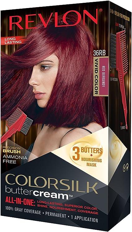Revlon Colorsilk All-in-One Buttercream - Tinte para el cabello n.º 36RB, color rojo burdeos claro vivo, gran color, opacidad y cuidado