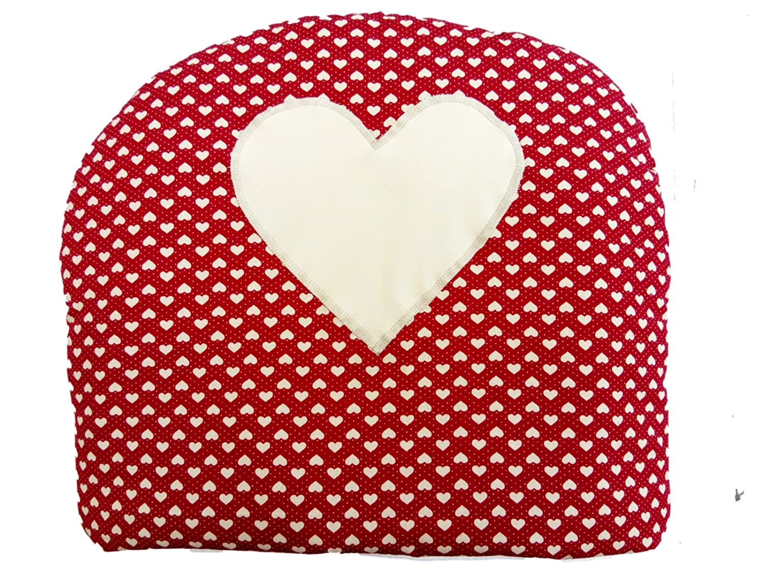 Burgundy Red Hearts with Beige Heart Tea Cosy Shabby Chic KAKIA DESIGNS UK