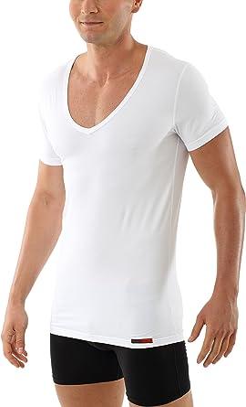 ALBERT KREUZ Camiseta Interior Blanca de Manga Corta con Cuello de Pico Profundo y de algodón elástico: Amazon.es: Ropa y accesorios