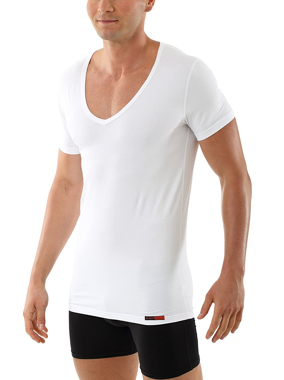 Albert Kreuz men's white business deep-V undershirt with short sleeves made of soft and light stretch-cotton 9K-8ZPK-BPC9