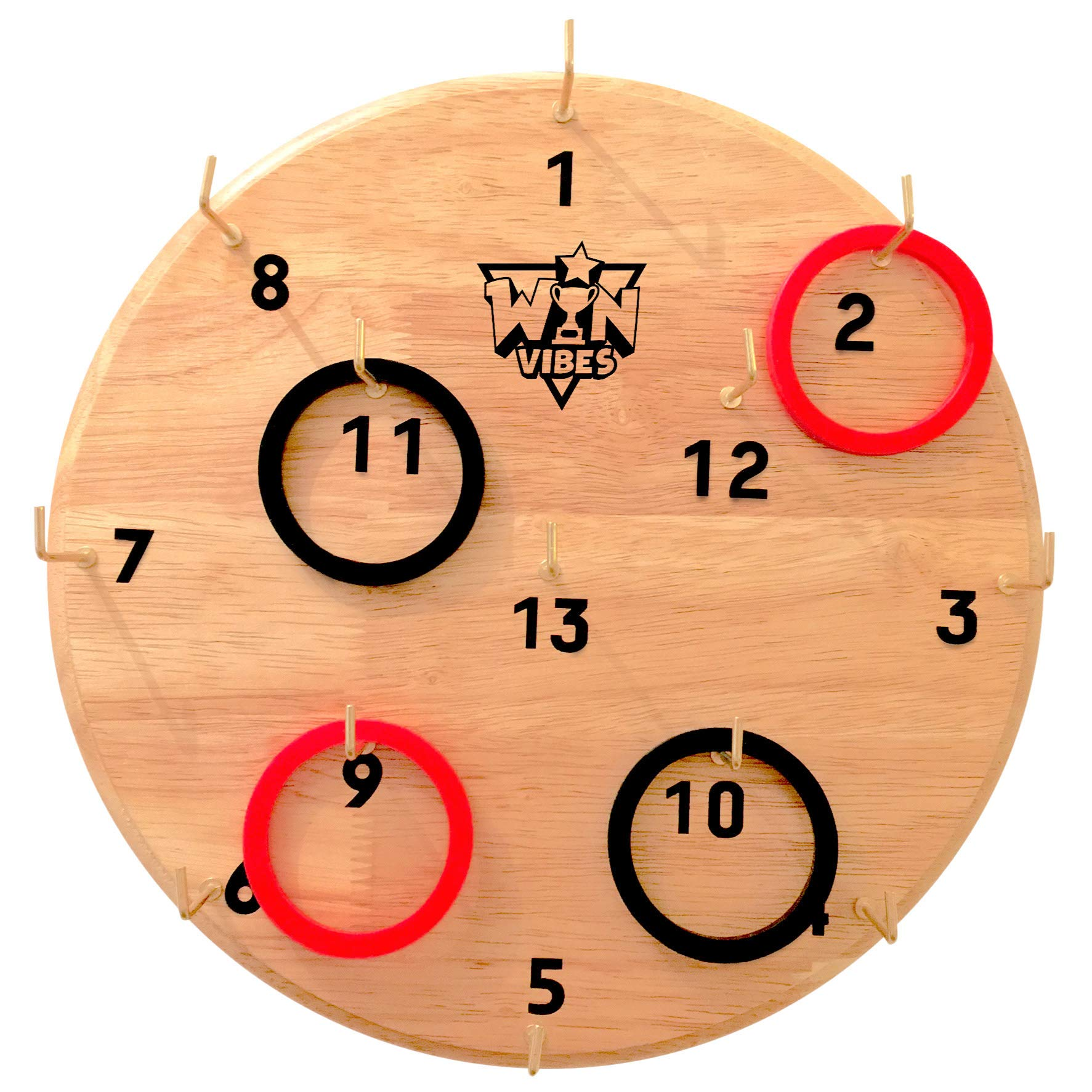 Hook and Ring Toss Game by Win Vibes - Classic Fun Hookey Game for Adults Teens and Kids - Birthday Idea for Men - Beautiful Solid Board - Easy Set-Up with Clear Rules - Indoor and Outdoor Party Games by Win Vibes