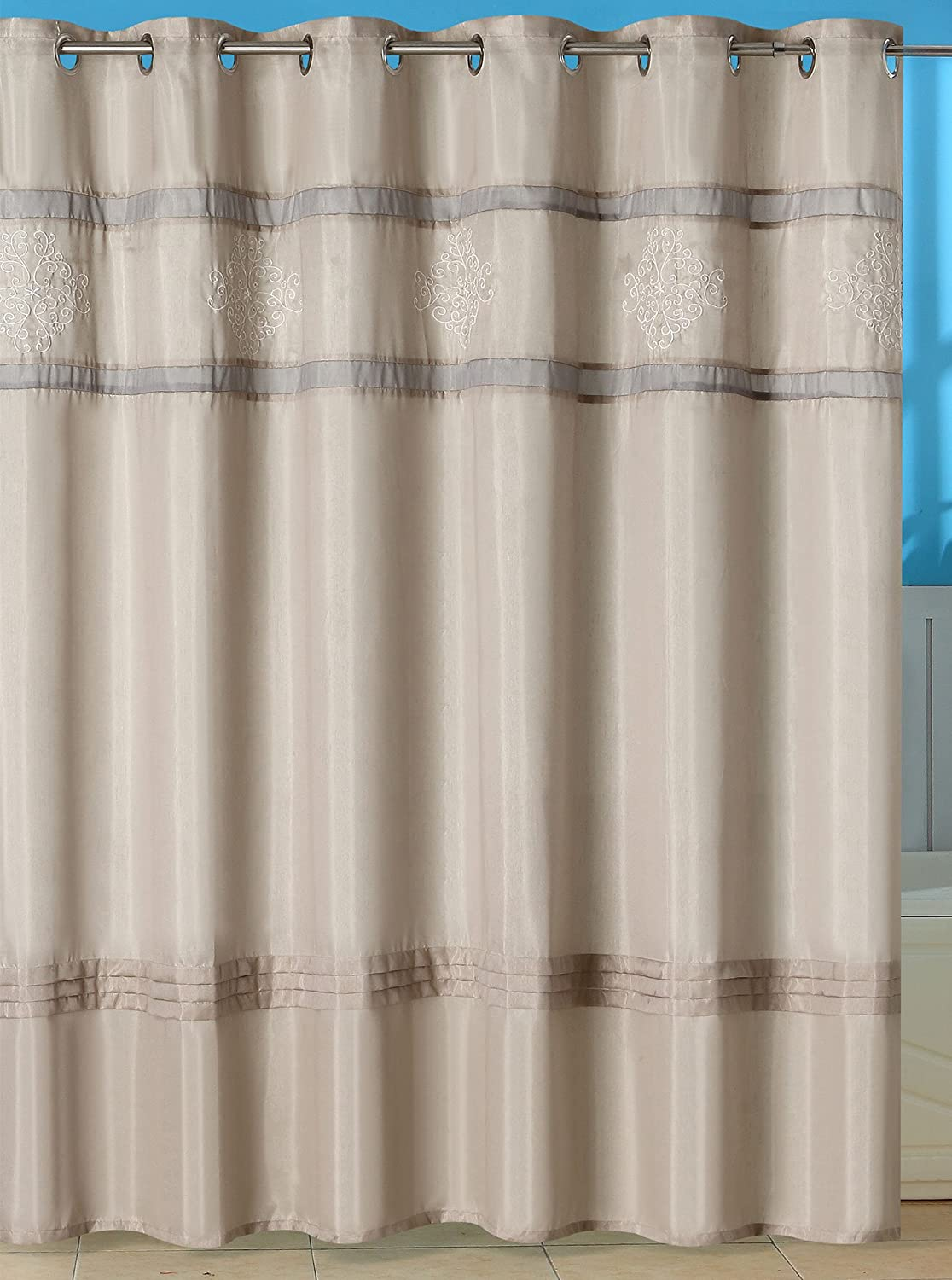 Amazon Lavish Home Radcliff Embroidered Shower Curtain With Grommets Kitchen