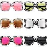 6 Pairs Crystal Oversized Sunglasses Square Diamond Sunglasses Women Retro Sunglasses