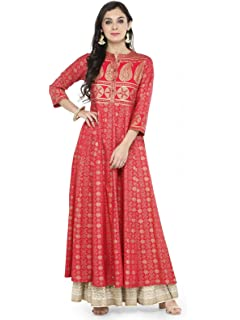 Indian Bollywood Pink Anarkali Designer Kurti Dress Women Free Shipping