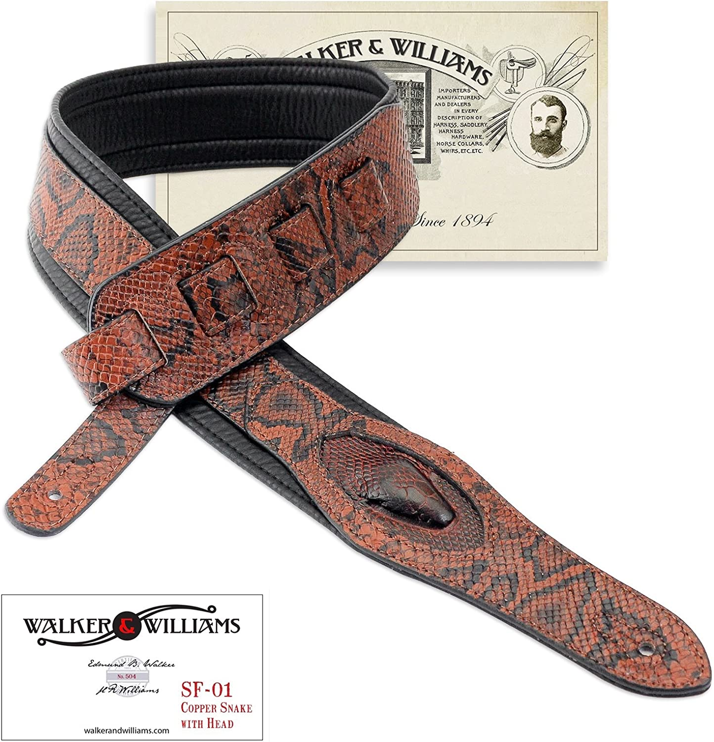 Luxury Leather Guitar Strap Black with Snake Skin Motif