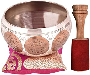 "Tibetan Singing Bowl Set - 4"" Premium Meditation Sound Bowl Beautifully Handcrafted by Professional Artisans in Nepal"