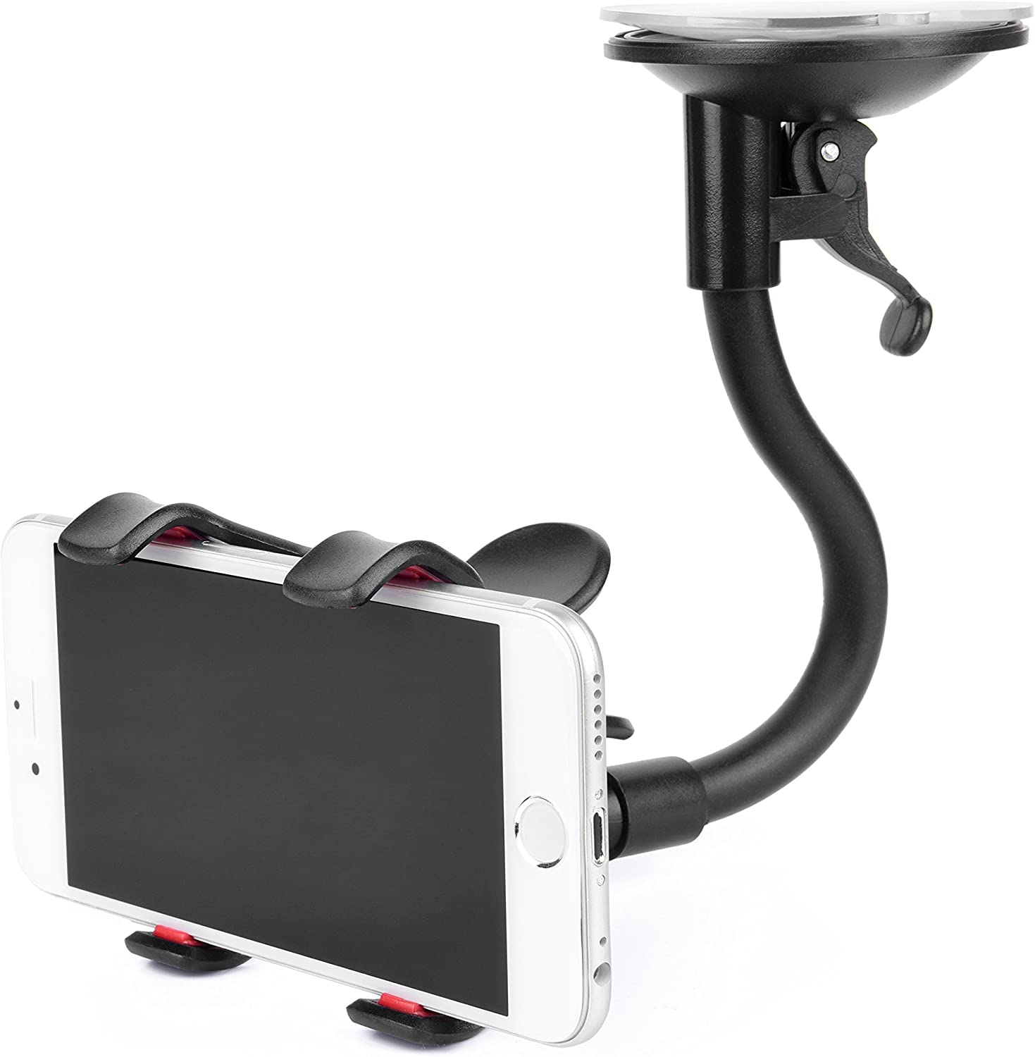 Google Huawei and More Air Vent and Windshield Long Arm Car Phone Mount with One Button Design Car Holder for iPhone X//8//7//7P//6s//6P//5S Galaxy S5//S6//S7//S8 LG Cell Phone Holder for Car