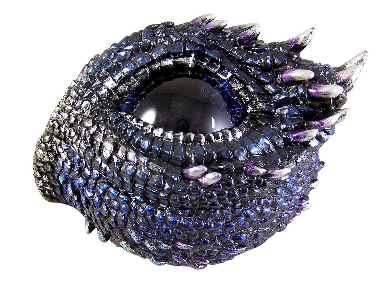 Purple and Blue Thorny Scale Dragon Eye Jewelry Trinket Box 5 Inch