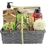 BRUBAKER Cosmetics Set de Baño y Ducha Garden Flowers - Fragancia de Flores de adormidera - Set de regalo de 14 piezas en una cesta - con cepillo de uñas