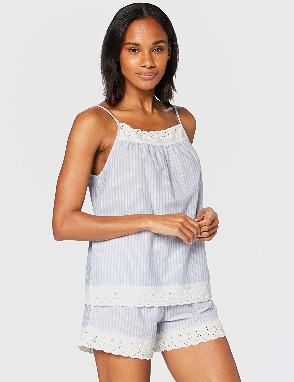 Marca Amazon - Iris & Lilly Pijama de Satén Mujer