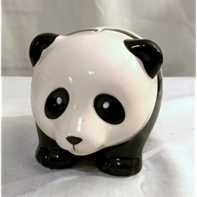 New Black & White Panda Bear Piggy Bank Coin Money Holder Adorable: Toys & Games