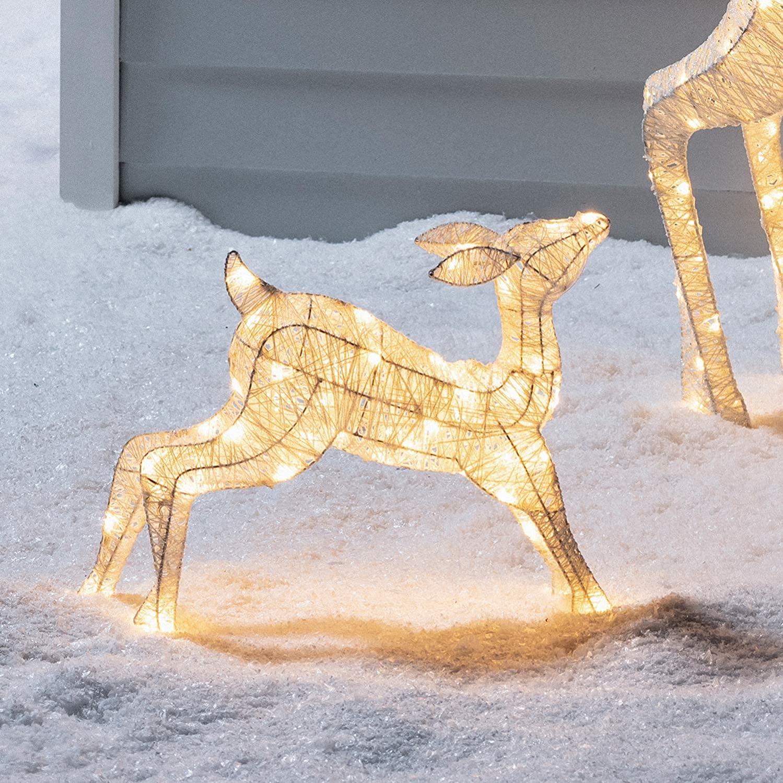 Lights4fun LED Rentier Familie warmwei/ß strombetrieben Timer innen und au/ßen