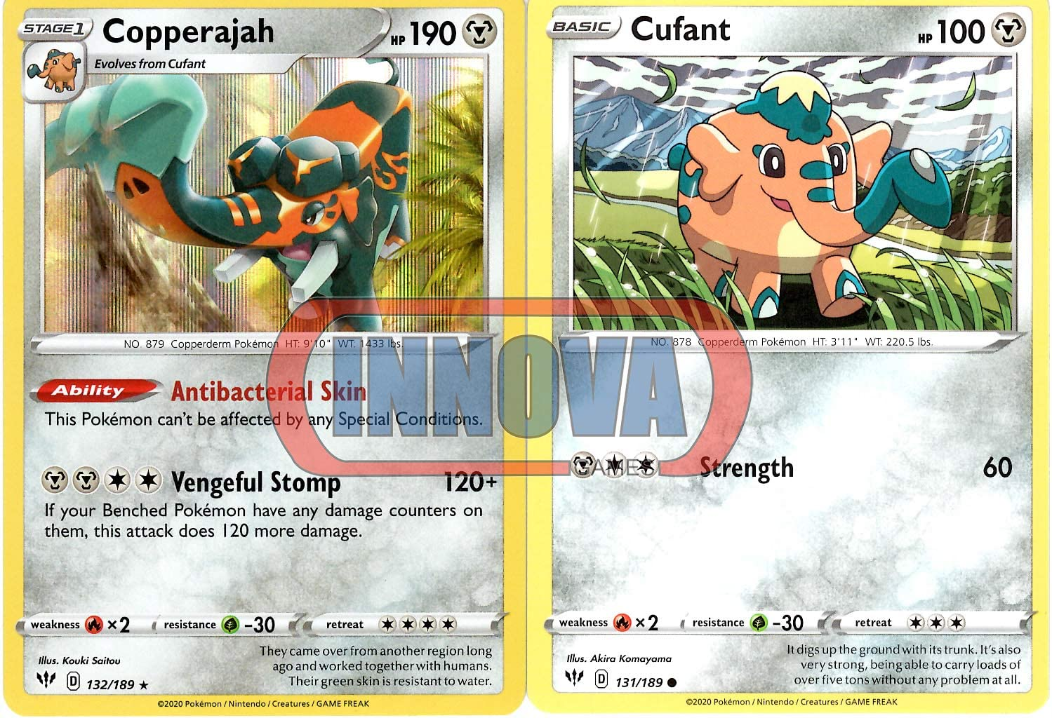 Pokemon Copperajah 132//189 Ultra Rare Holo Card Darkness Ablaze Top Loader