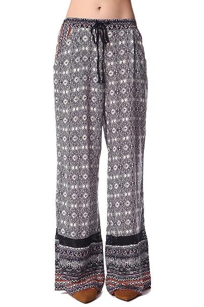 Q2 Mujer Pantalones de pernera amplia con estampado etnico ...