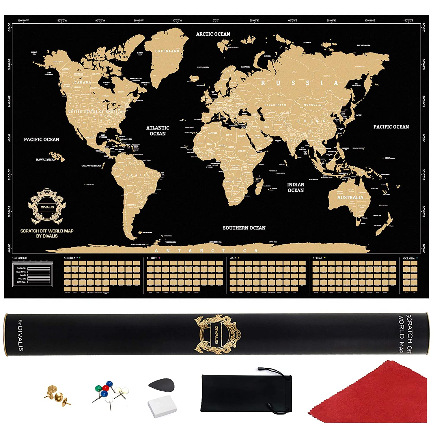 Black World Map Poster.Amazon Com Scratch Off World Map Extra Large Black And Gold