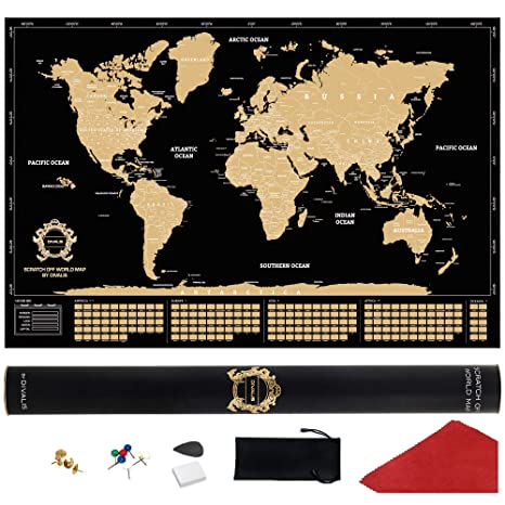 Gold World Map Poster.Amazon Com Scratch Off World Map Extra Large Black And Gold