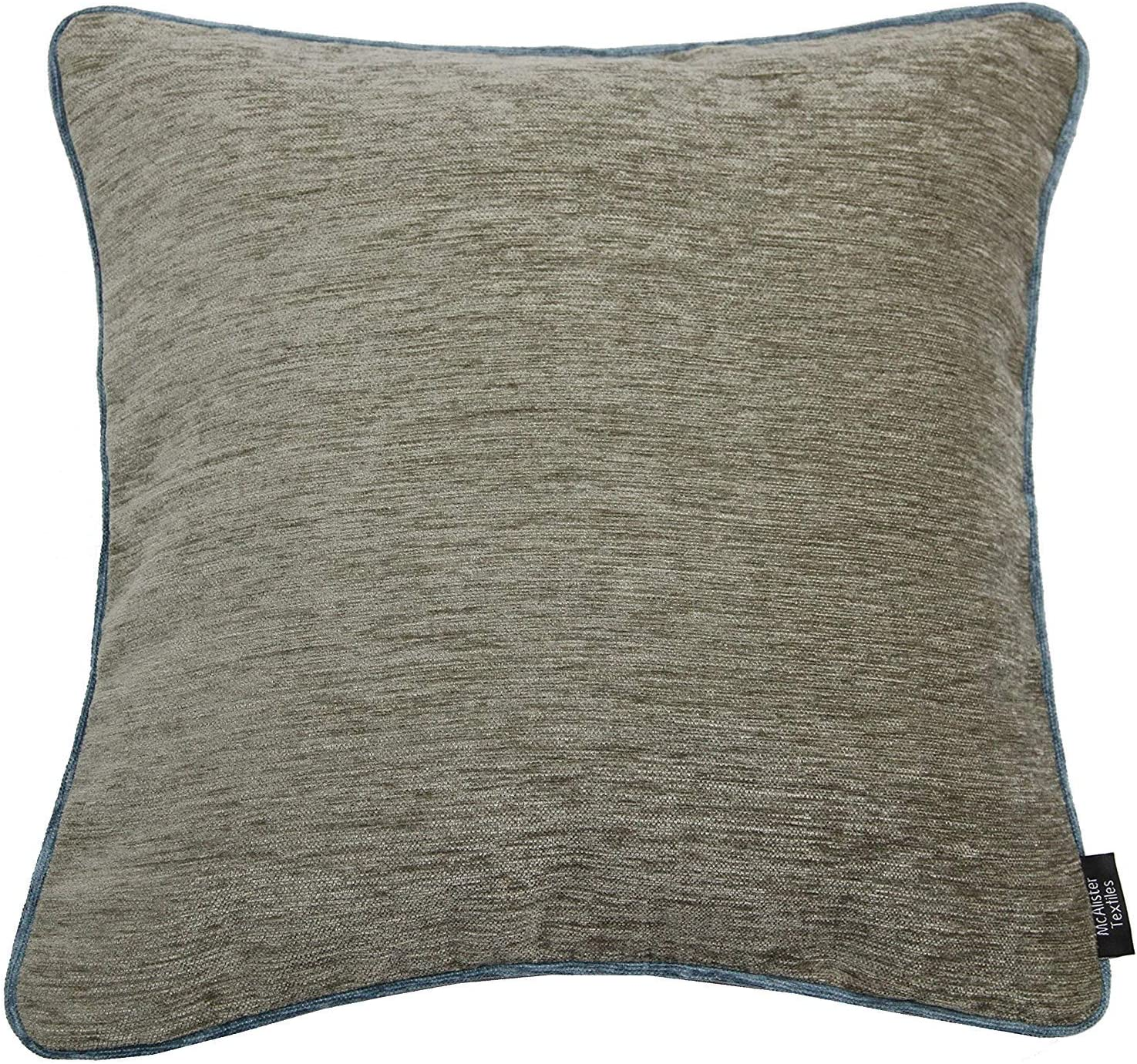 McAlister Textiles Pillow Case Alston Chenille Decorative Cushion Cover for Sofa 40x40cm Plain Two Tone Color Lilac Blue and Taupe Sofa