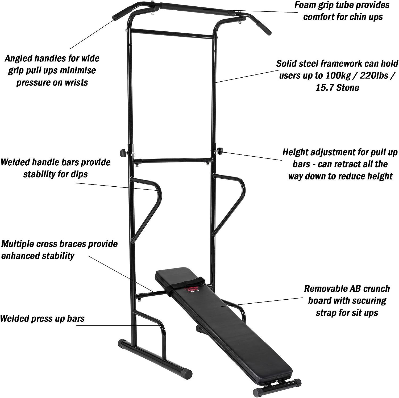 Pure Fitness & Sports PS300 - Estación de dominadas, Color Negro