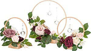 Ling's moment Crystal Wooden Hoop Wreath Floral Centerpieces for Sweetheart Table, Head Table, Ceremony Reception Artificial Flowers Decorations (Set of 3, Dusty Rose)