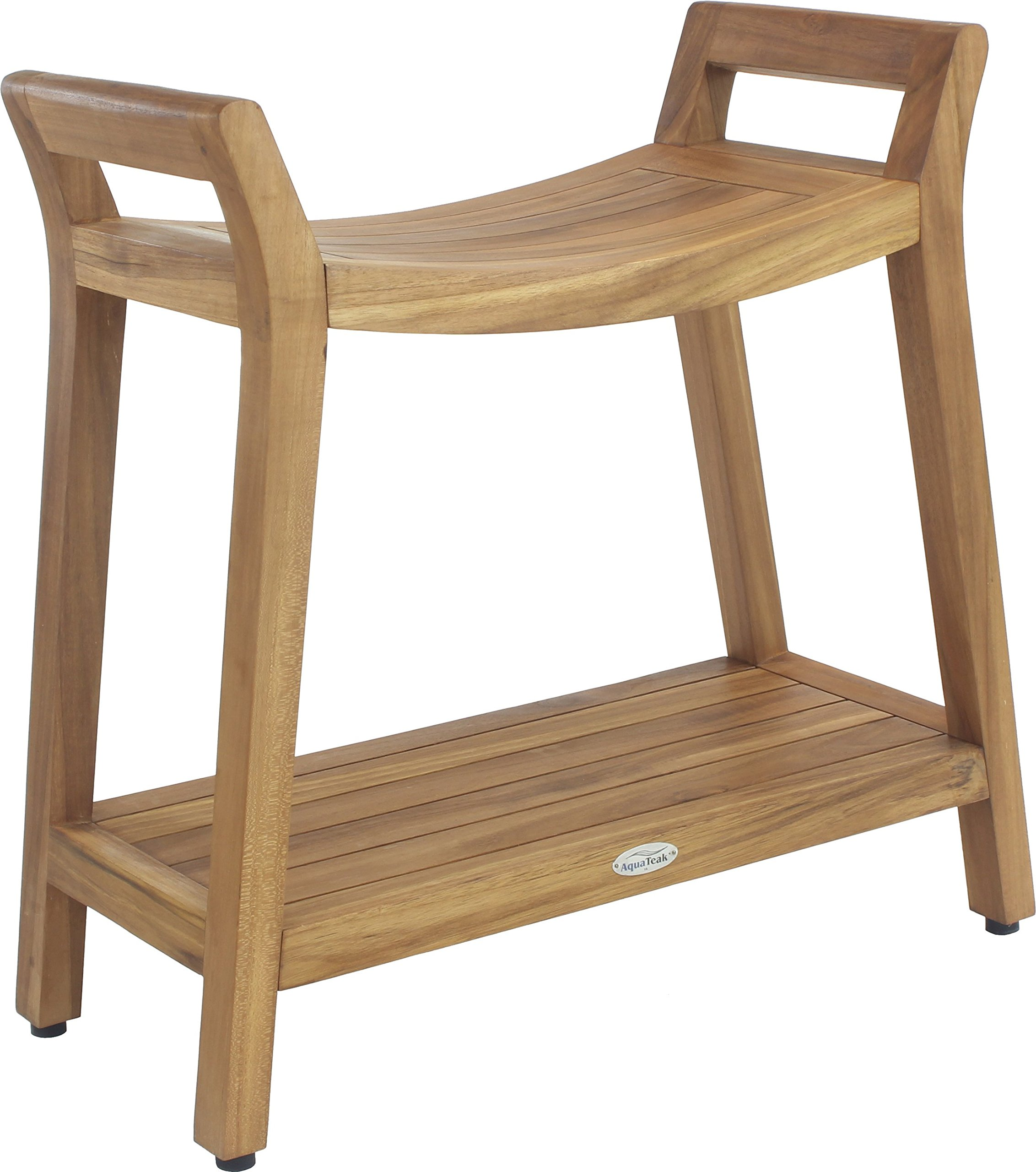Asia Ascend Teak Shower Bench with Elevated Height and Shelf
