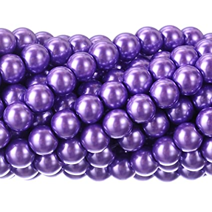 0317c42f66b7d RUBYCA 200Pcs Czech Tiny Satin Luster Glass Pearl Round Beads DIY Jewelry  Making 8mm Lavender Purple