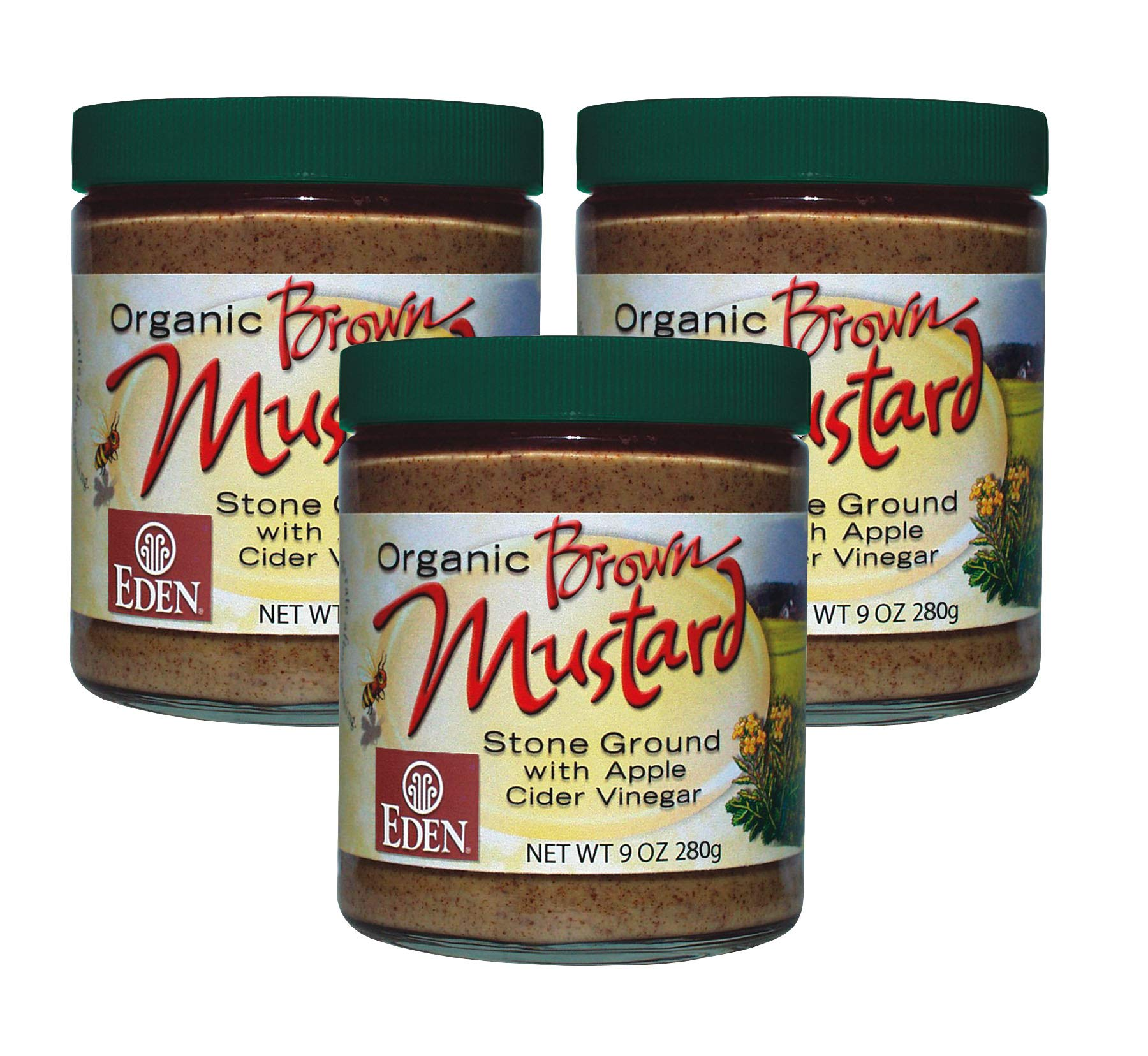 Organic Brown Mustard - 9 Oz. Glass Jar (Pack of 3)