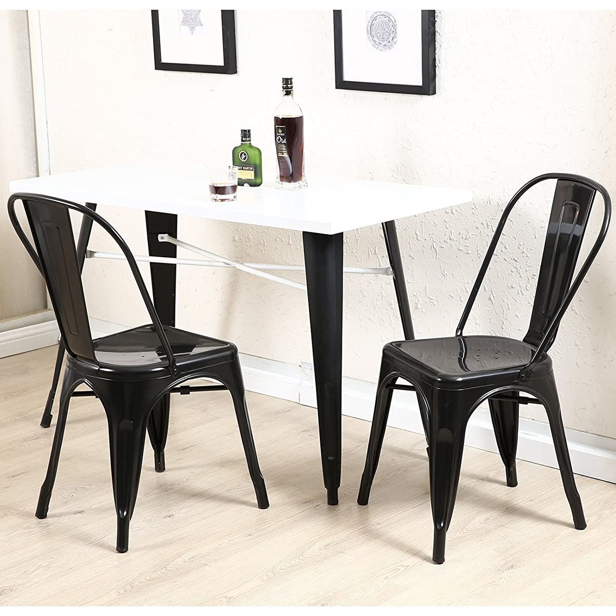 Belleze Set of (4) Vintage Style Dining Side Chairs Steel High Back (Black)