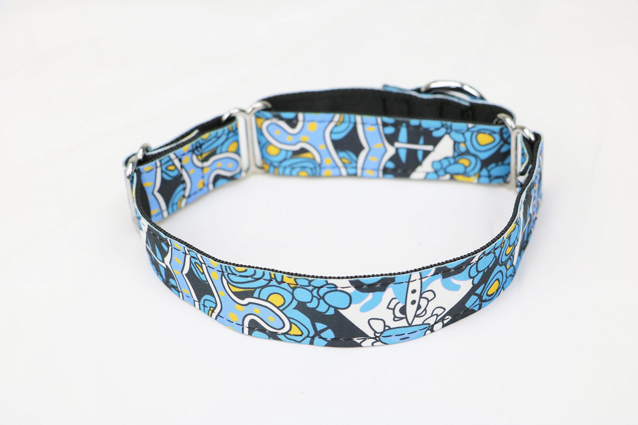 BUNICAD Handmade Personalized Fabric Super Strong Durable Reef Dog Collar Martingale Collar for Large dog (L: Width 3.8cm fits neck size 35cm ~ 50cm)