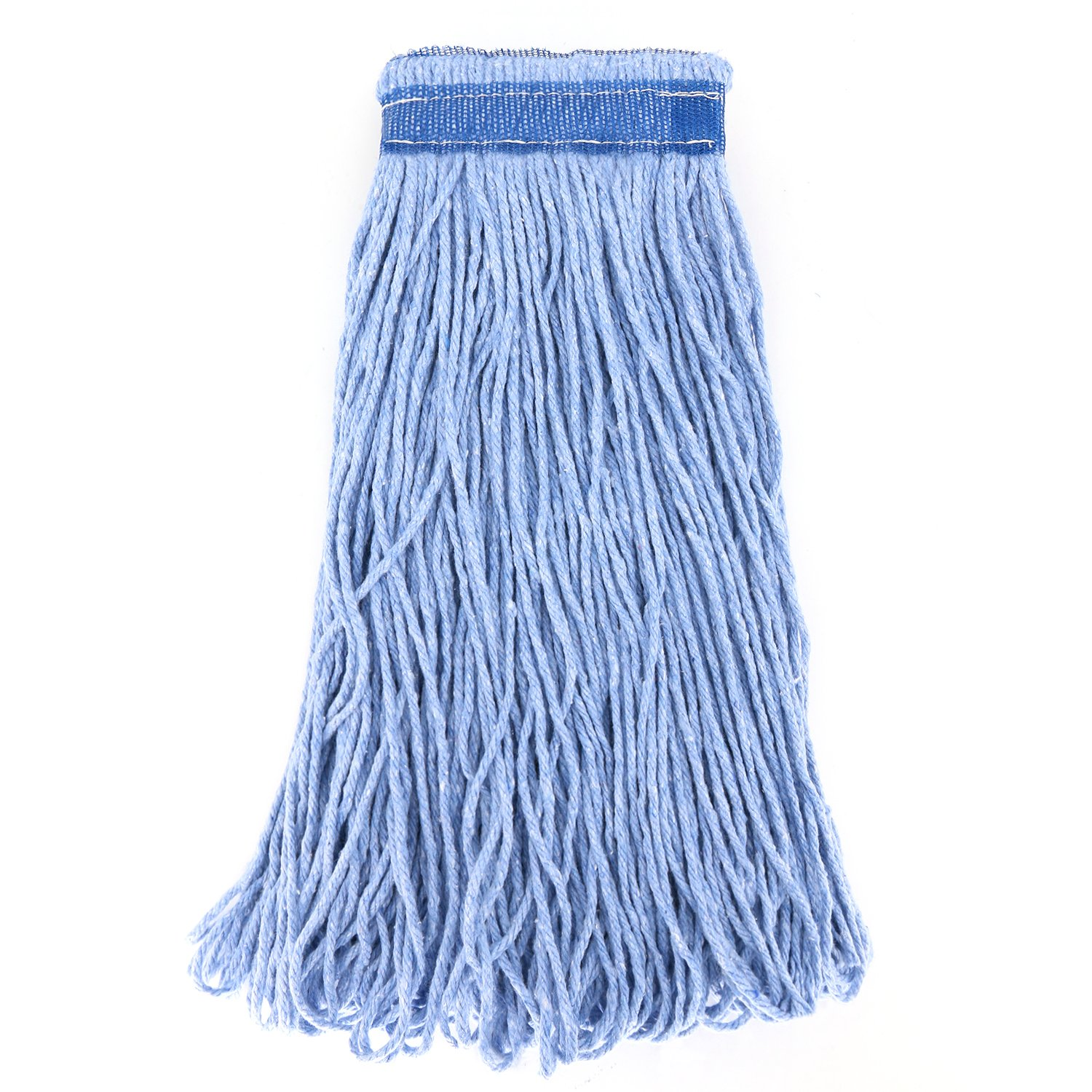 Bonison 24 oz Cotton Easy Wring Saddle Mop Head Refill, 24 oz Heavy Duty Looped-End String Swinger Style Replacement Mop Head, for Home, Commercial, and Industrial Use (Blue, 24 oz) by Bonison (Image #2)
