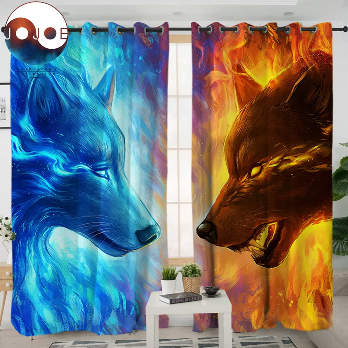 Sleepwish Fire and Ice by JoJoesArt Wolf Curtains for Windows 3D Animal Panels Blackout Shades Men Curtains Grommet Curtain 2 Panels, 52×96 Inch, Hook Top