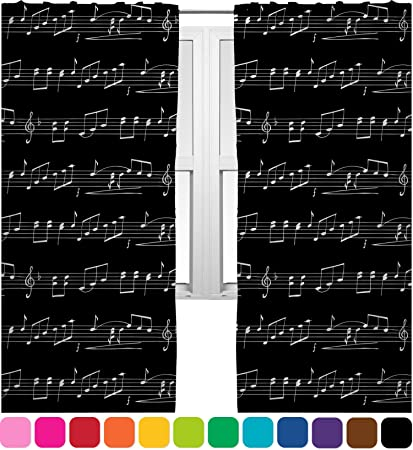 """Musical Notes Curtains - 40""""x54"""" Panels - Lined (2 Panels Per Set"""