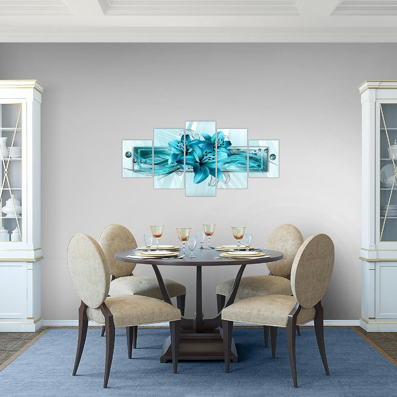 Bilder Blumen Lilien Wandbild Vlies Leinwand Bild XXL Format Wandbilder Wohnzimmer Wohnung Deko Kunstdrucke 100 x 50 cm Blau 5 Teilig MADE IN