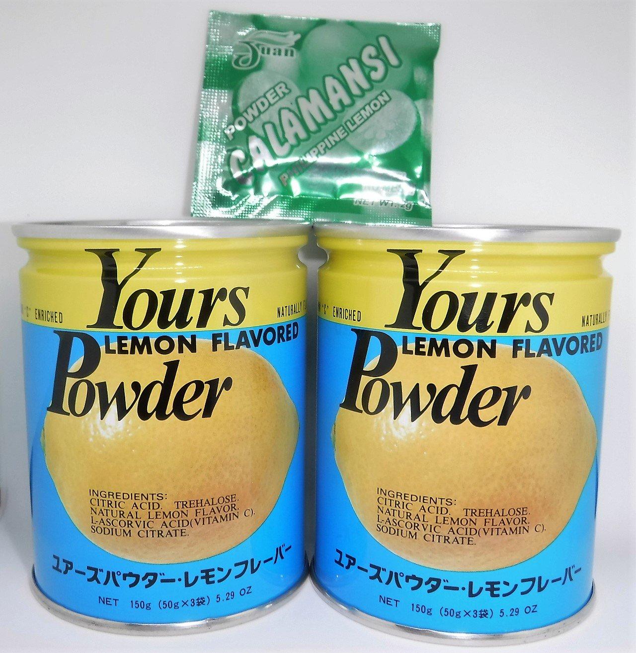 Yours (Japan) Lemon Flavored Powder, 5.2 oz. / 2 cans + Philippine Lemon Calamansi Salmpler Sachet