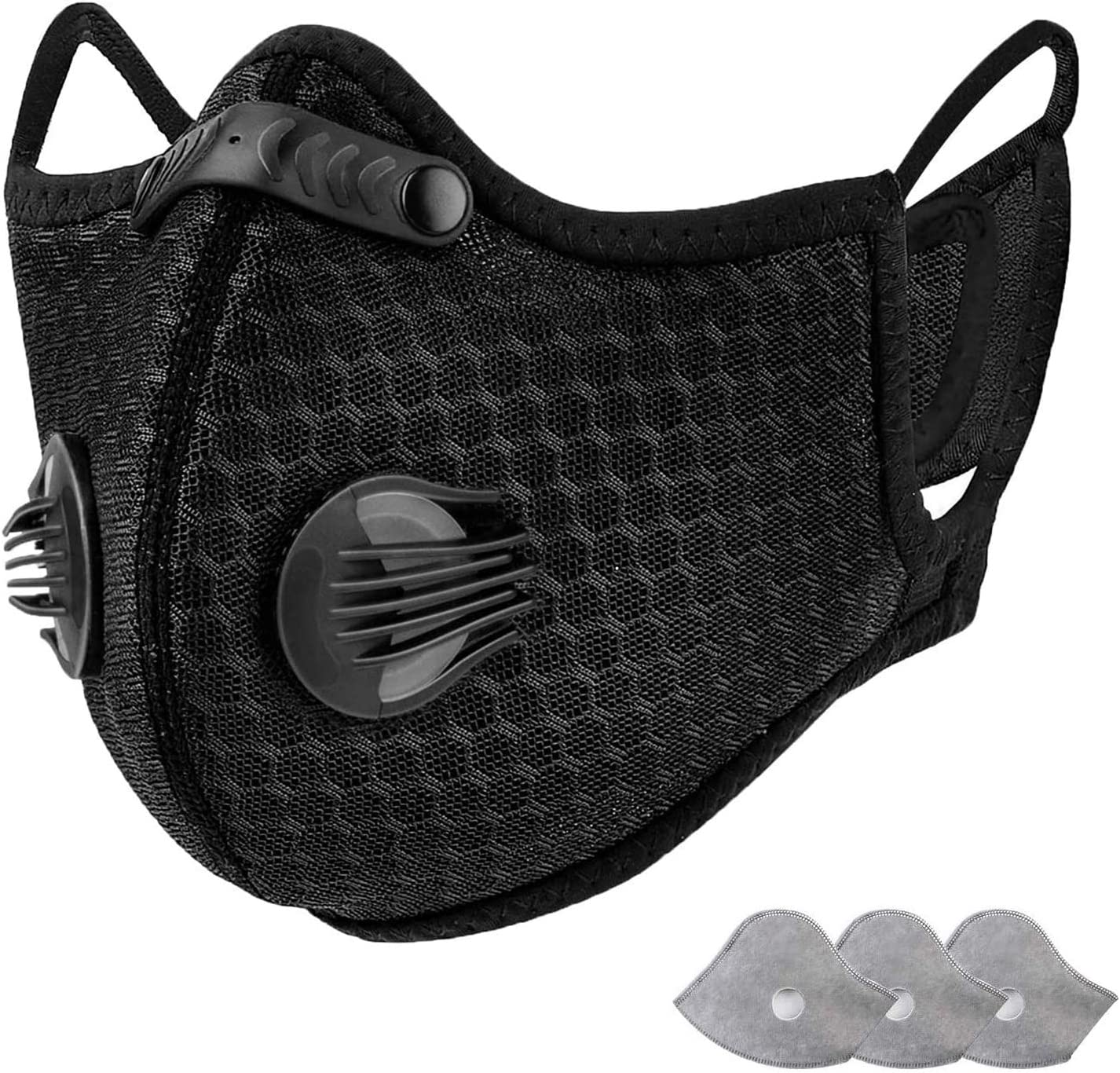 AstroAI Reusable Dust Face Mask with Filters - Upgraded Design for Better Personal Protection Adjustable for Running, Cycling, Outdoor Activities(Black, 1 Mask + 3 Activated Carbon Filters Included)