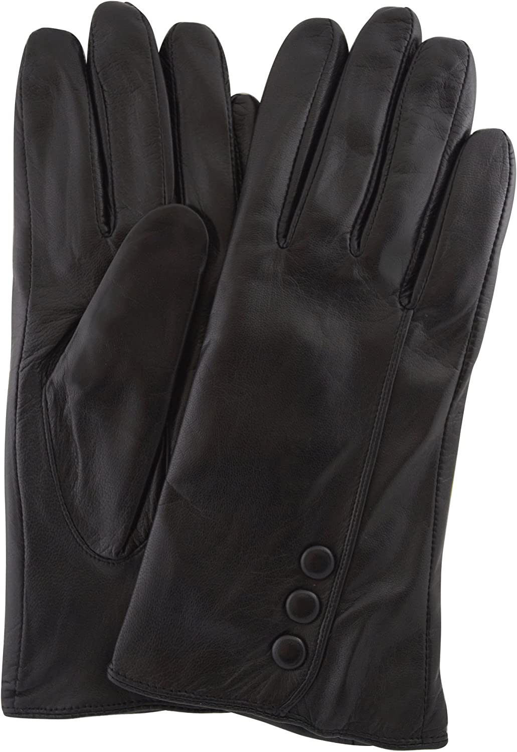 SNUGRUGS Womens Butter Soft Premium Leather Glove with Classic Triple Button Stitch Detail /& Warm Fleece Lining